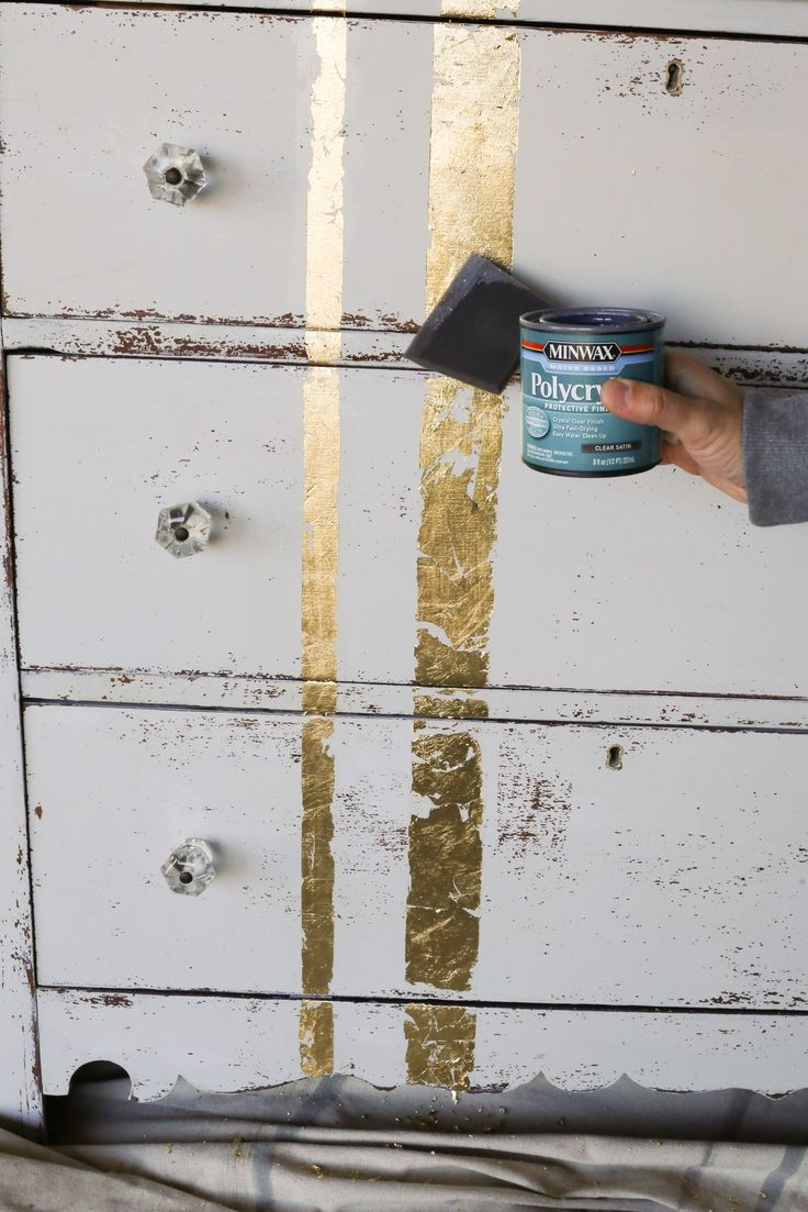 Learn how to apply gold leaf to furniture in 5 easy steps! www.thedempsterlogbook.com                                                                                                                                                     More