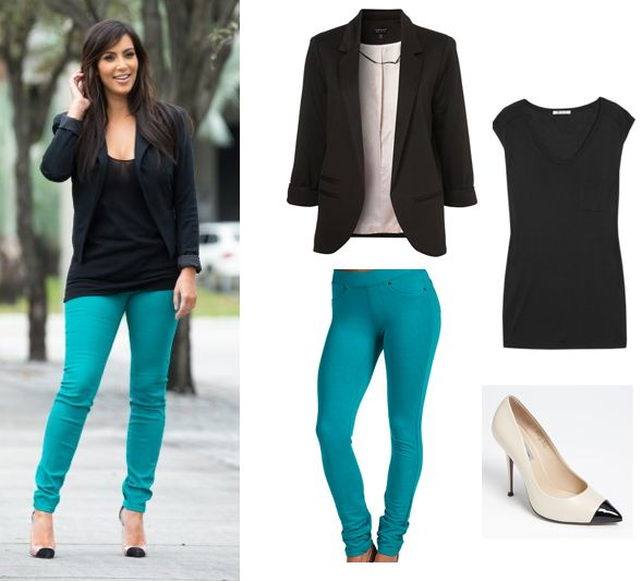 Coloured pants & dark on top with statement heels great for women with broad shoulders!