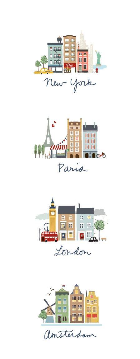 Leuk om uit te printen en in te lijsten op een kinderkamer! Wel alle steden apart met een passe-partout eromheen!