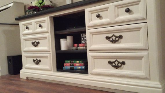 Up Cycled Dresser Turned Into Entertainment Center By