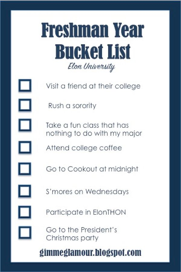Gimme Glamour: Freshman Year Bucket List. Elon University.