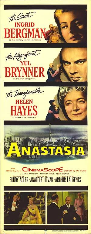 Movie poster for Anastasia starring Ingrid Bergman and Yul Brynner, 1956