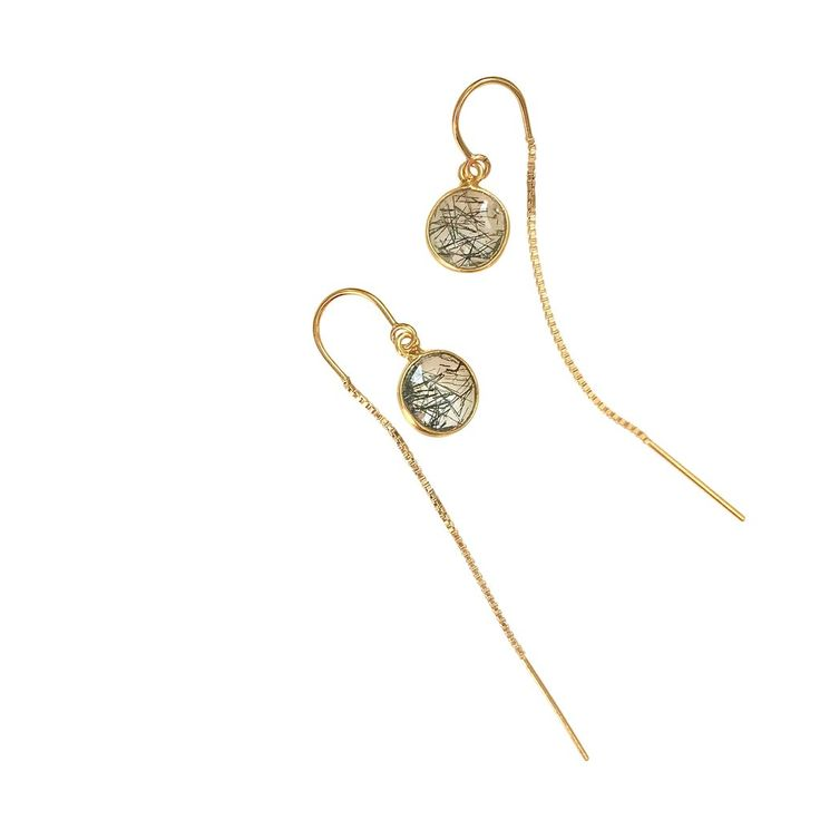 Rutilated Quartz gold chain earrings