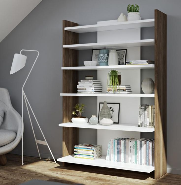 Niko. modern bookcase in white and walnut finish with staggered shelves