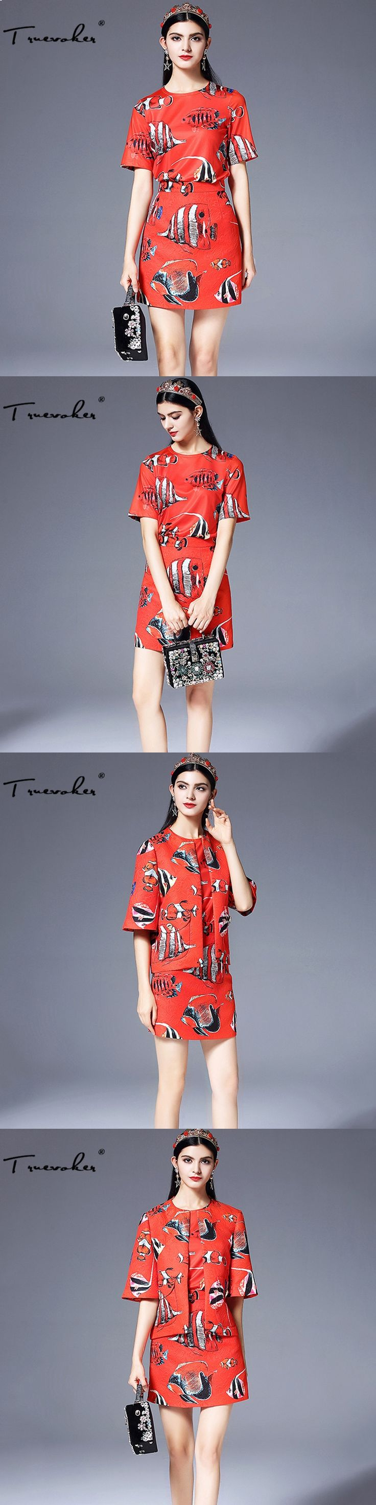 Truevoker Autumn Designer Set Women's 3/4 Sleeve Fish Printed Jacquard Red Jacket + Tee Shirt + Mini Pencil Skirt Suit 3 IN 1