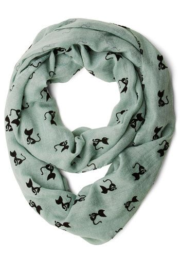 Cat Person Scarf - Mint, Black, Print with Animals, Cats, Good, Woven, Casual