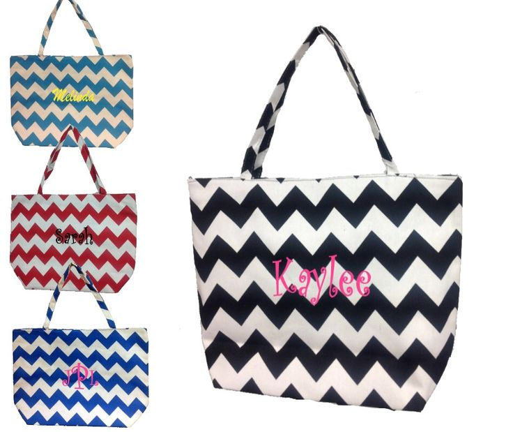A personal favorite from my Etsy shop https://www.etsy.com/listing/188292459/personalized-chevron-canvas-tote-bag