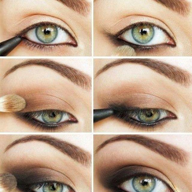 легкий дневной макияж для зеленых глаз, вариант 2