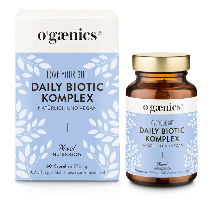 Ogaenics Love Your Gut Daily Biotic-KOmplex Glas und Kartonage