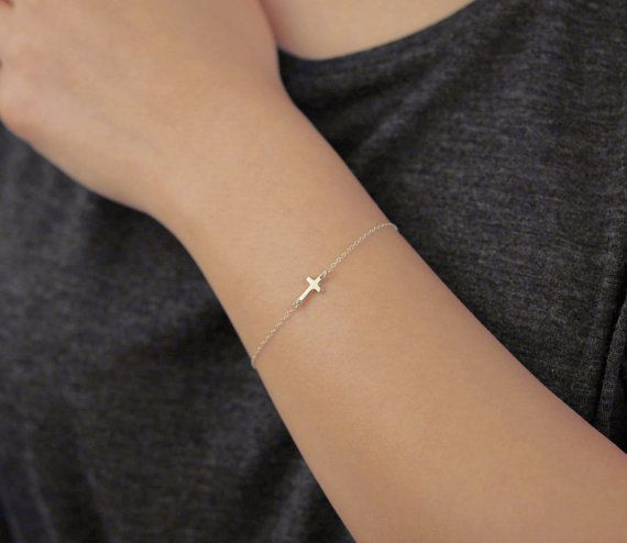 Tiny sideways cross - sterling silver bracelet  - everyday jewelry