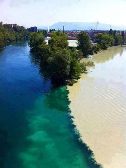 Junction of the Rhone and Arve rivers in Geneva, Switzerland