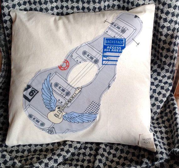 Vintage Guitar  Calico Cotton Envelope Cushion by MuddyKoolDesigns