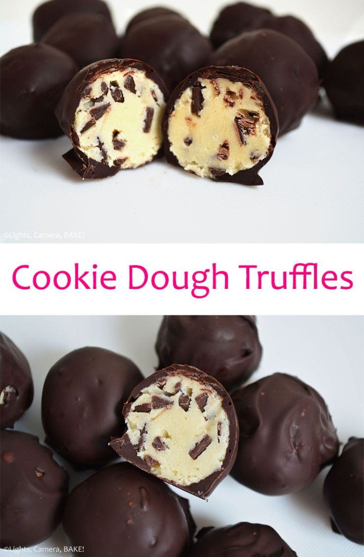 Cookie Dough Truffles are a safe to eat, chocolate chip cookie dough that is rolled into balls and covered in melted chocolate. #cookiedough #cookiedoughtruffles #safetoeatcookiedough