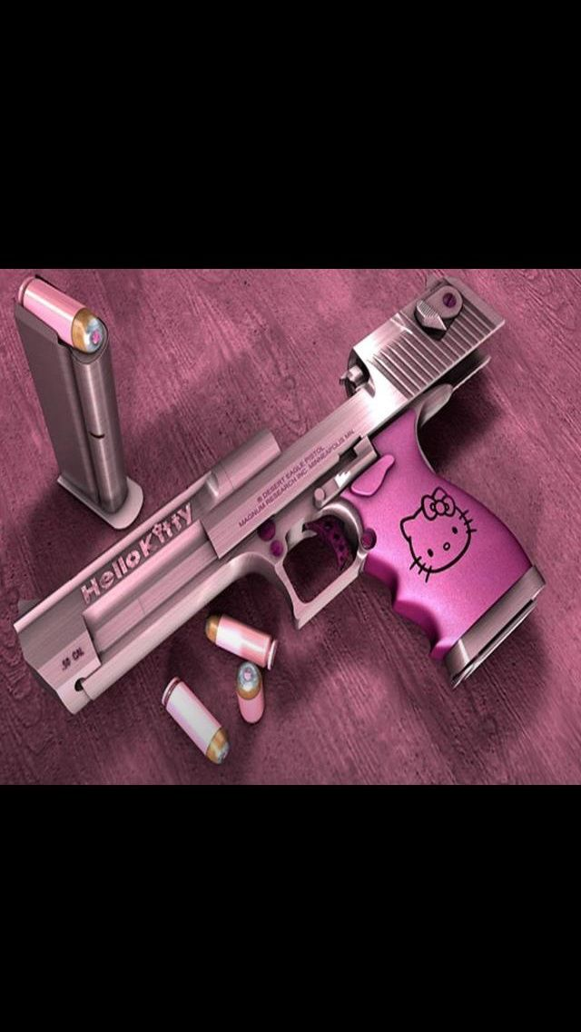 I need this!! Haha Wouldn't you be embarrassed if you got shot with a hello kitty handgun?