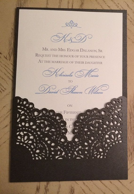 Lasercut Wedding Invitation Sleeve Pocket - Romantic Lace Pattern 2 - Die Cut Pocket (weddings)