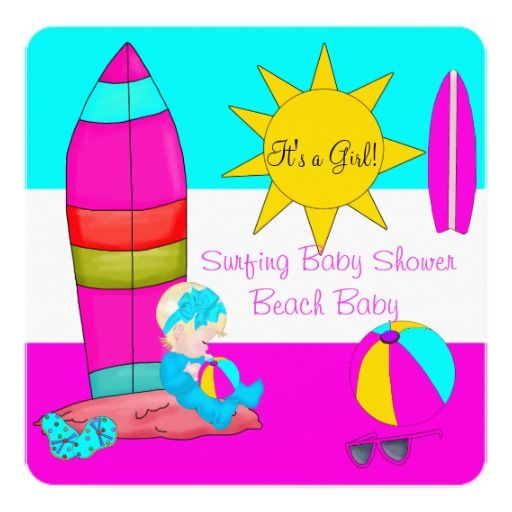 Summer Baby Shower Girl Beach Baby Surfing Baby 4