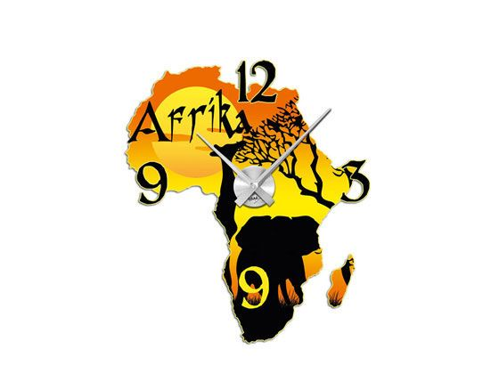 #Wandsticker #Uhr mit #Uhrwerk #Wanduhr Wohnzimmer #Afrika Landkarte Giraffe