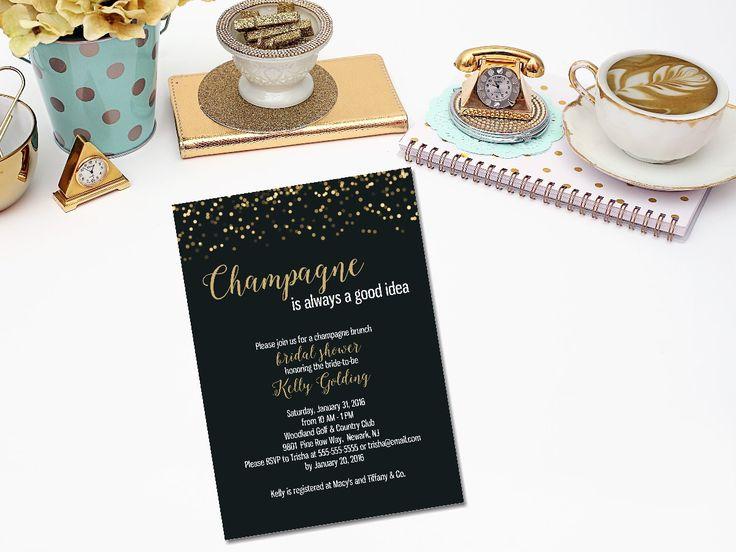 Champagne brunch bridal shower invitation champagne for Champagne brunch bridal shower