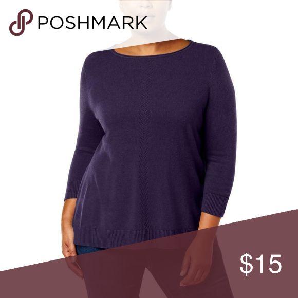 Karen Scott Purple Pointelle Pullover sweater NWT …