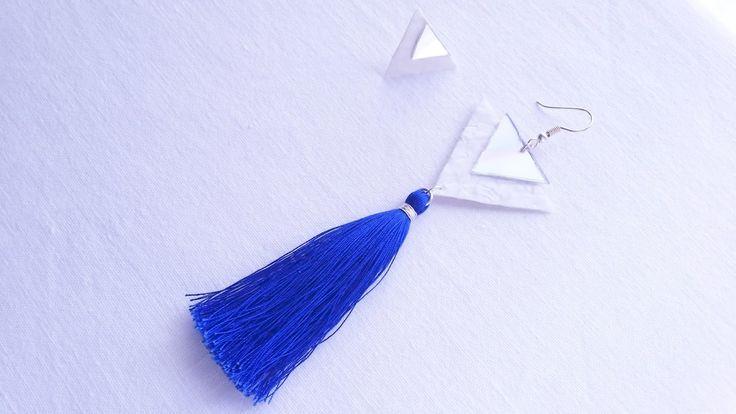 DIY Tassel Earrings | DIY σκουλαρίκια με φουντάκι  #diy #tassel #earrings #repurpose #upcycle #cdproject #plasticbagjewelry