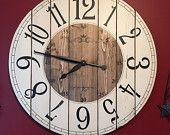 28 Inch Farmhouse Clock - Rustic Wall Clock - Large Wall Clock - Unique Wall Clock - Personalized Clock - Distressed Clock - Wooden Clock