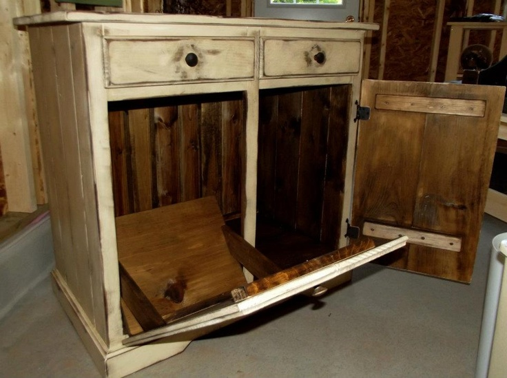 Double Garbage Cabinet Kitchen Island Finished Tags Stars And Sches Primitives