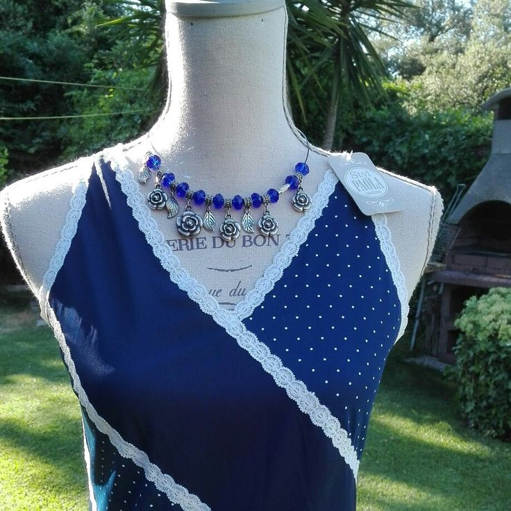 Camicia da notte shabby chic vintage blu pois nightgown woman chic