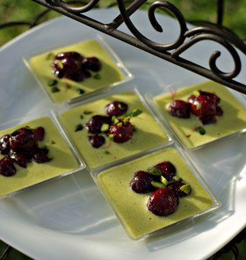 Verrines pistaches cerises