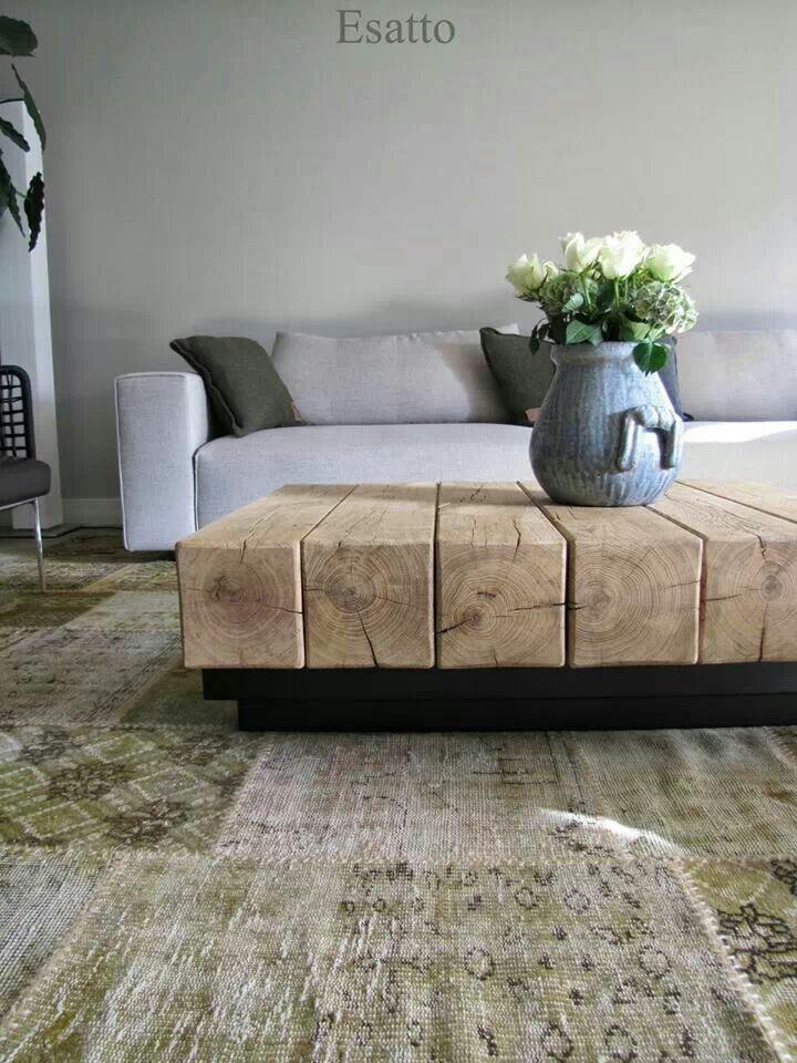 Afbeeldingsresultaat voor salon tafel hout balk