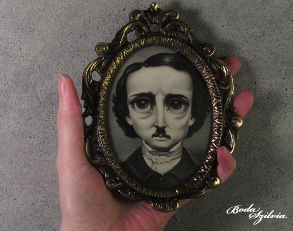 Poe portrait  original art framed art gothic art pop surrealism by bodaszilvia on etsy