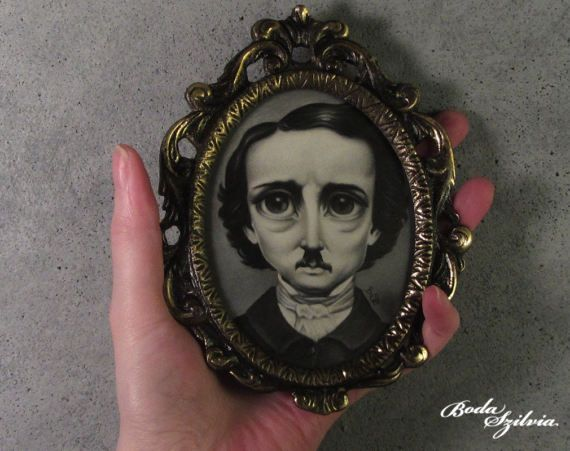 Poe portrait  original art framed art gothic art pop surrealism by bodaszilvia on etsy