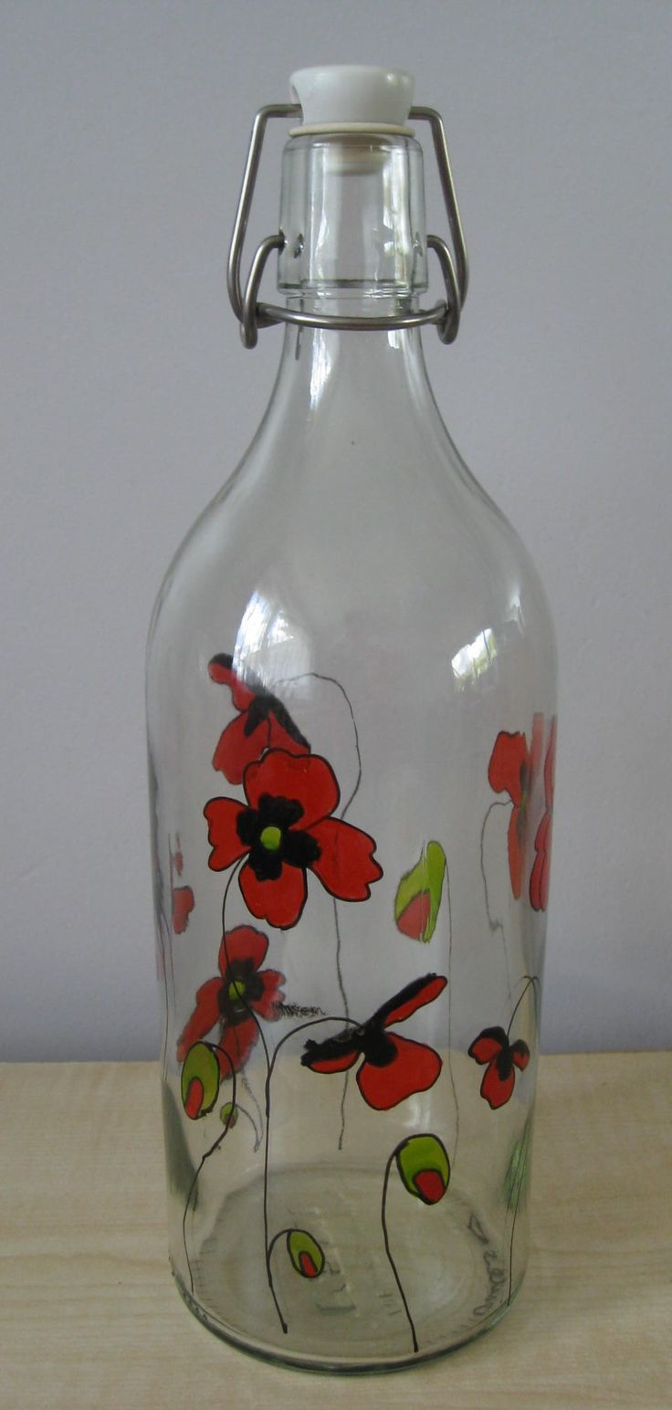 Hand painted red poppy 1 litre glass bottle gift ideas for Hand painted glass bottles