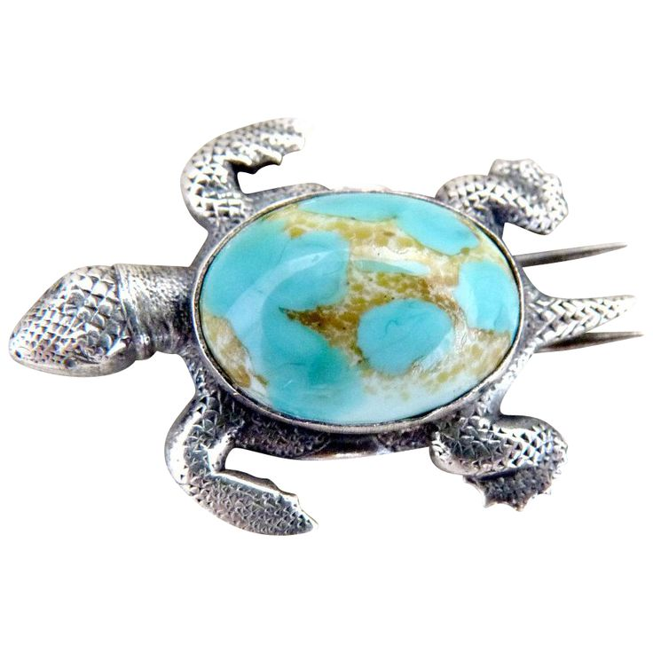 Sterling silver turtle fur clip brooch turquoise body from the c. 1930s.