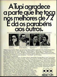 Anúncio Rede Tupi - 1978