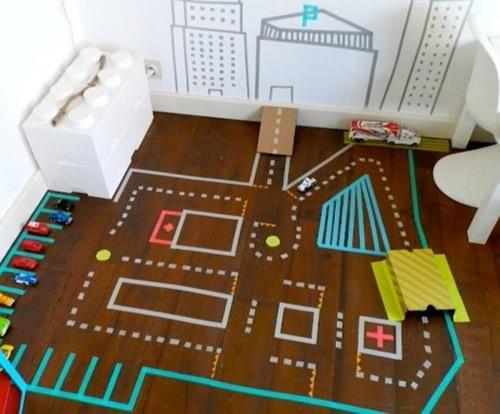 DIY con Washi Tape: súper circuito de coches en casa   Fiestas infantiles y cumpleaños de niños