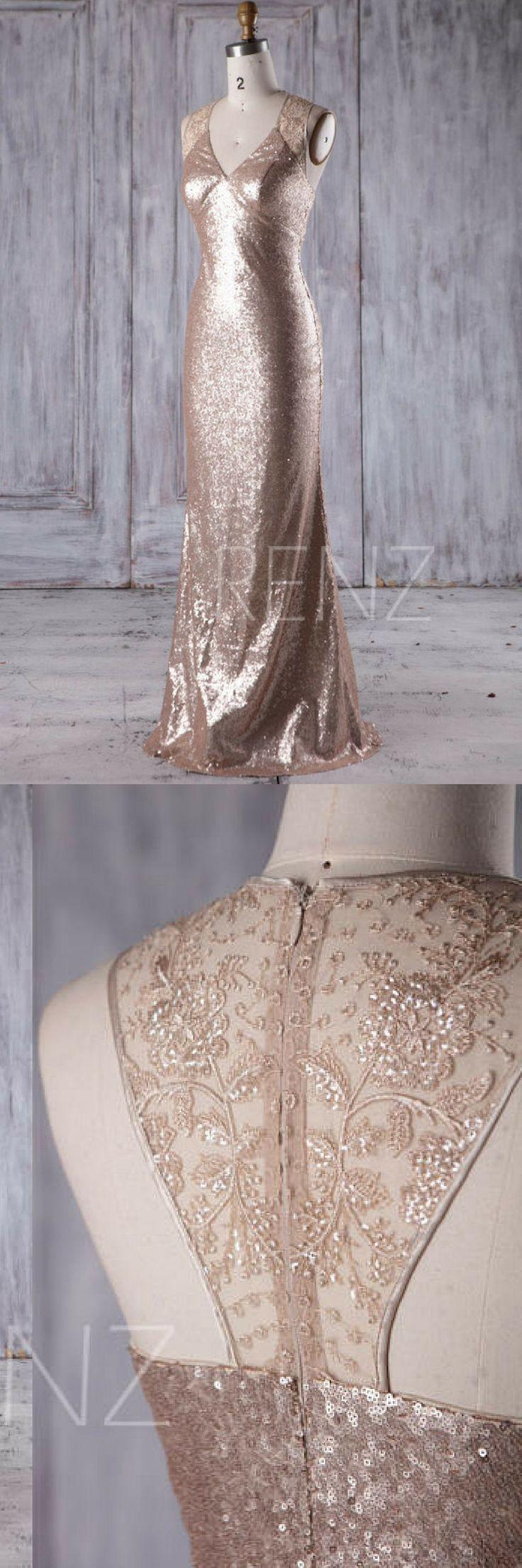 Bridesmaid Dress Tan Sequin  V Neck Halter Wedding Dress,Beaded Illusion Lace Long Prom Dress,Luxury  Bodycon Evening Dress Full Length #promdresses #ad #bridesmaiddresses #womensfashion