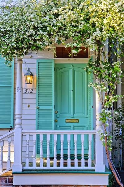 A soft but bright hue, like this minty blue green combo, is exciting and unexpected for the front door.