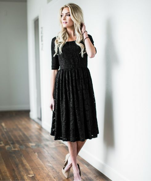 Addison - a modest black lace midi dress from Omika Australia.