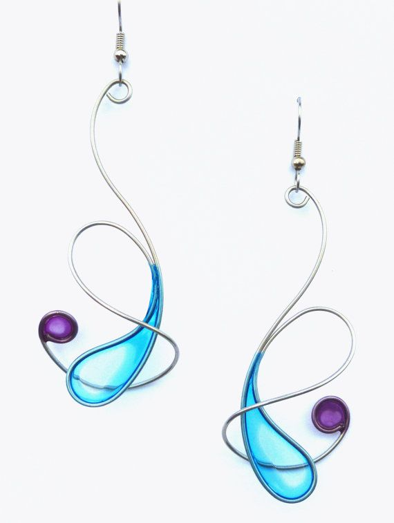 Stainless steel earrings in pale blue and purple - handmade jewelry