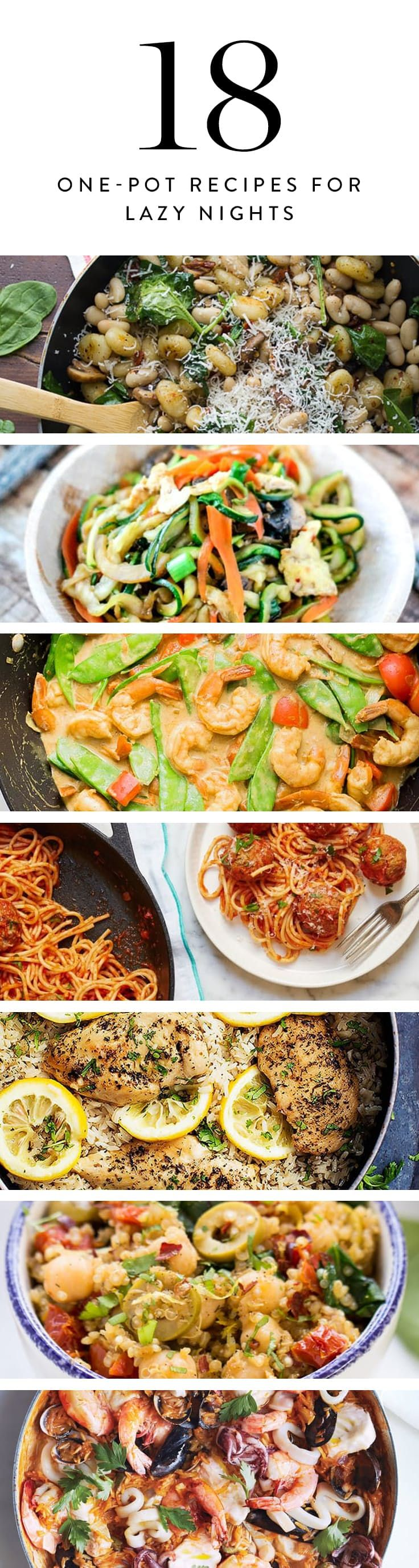 18 One-Pot Recipes for Lazy Nights via @PureWow