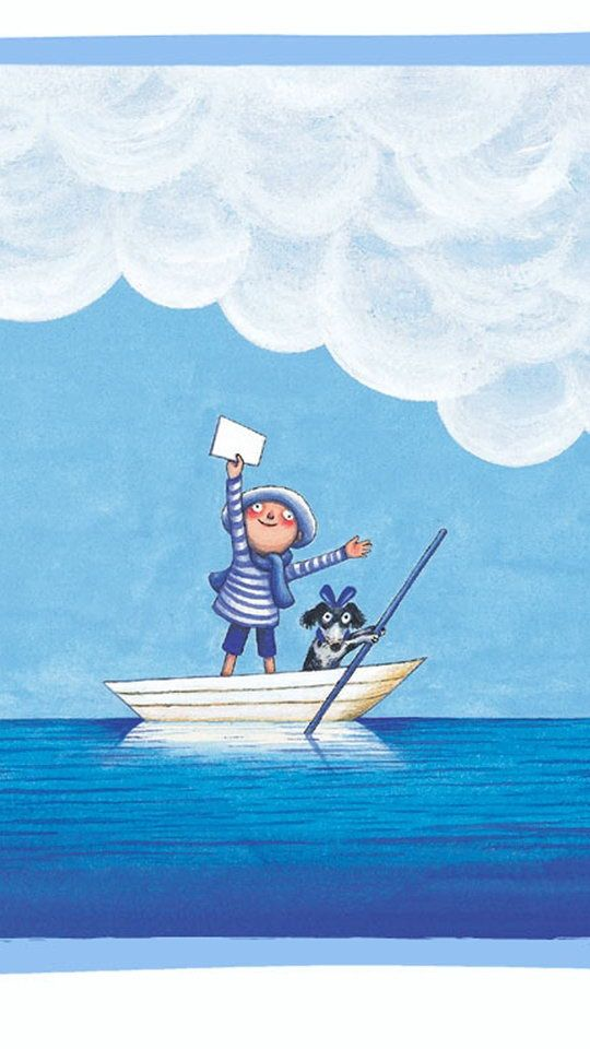 I have a message for you. Boy, letter, boat, sea, clouds, dog. Blue and white. Tengo un mensaje para ti! Jimmy Liao