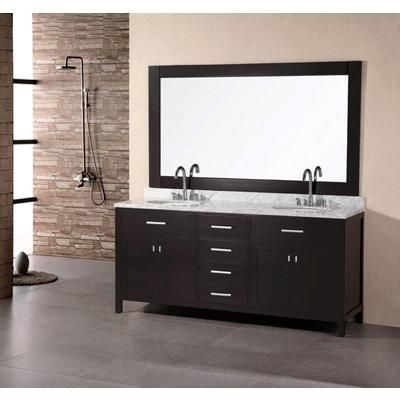 Design Element - London 72 Inches Vanity in Espresso with Marble Vanity Top in Carrara White and Mirror (Faucet not included) - DEC076B - Home Depot Canada