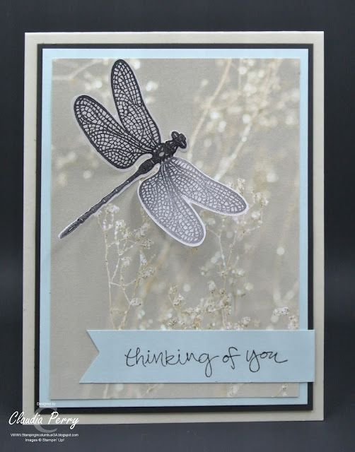 Stamping in Columbus, GA: Dragonfly Dreams and Falling in Love DSP perfect for pet sympathy card