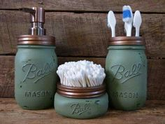 Mason jar bathroom decor - love this aqua colour