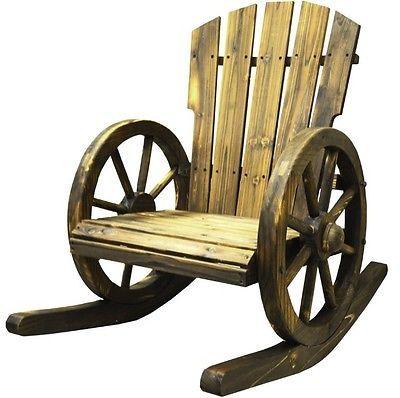 Wooden Rocking Chair Outdoor Patio Furniture Rustic Garden Armchair Solid Swing