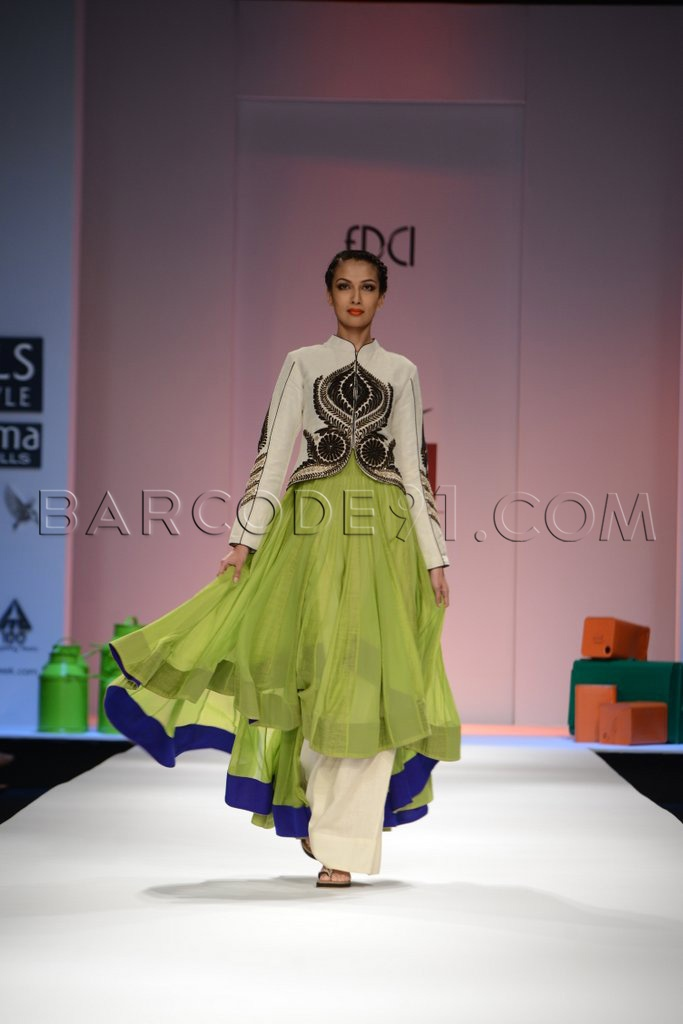 Green anarkali suit with jacket.