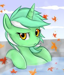Size: 600x711 | Tagged: artist:mn27, autumn, crying, frown, hot tub, leaves, lyra heartstrings, pony, raised eyebrow, sad, safe, solo, tear, unicorn, water