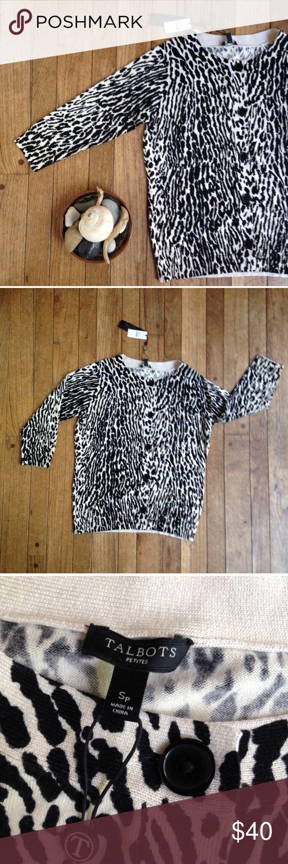 *NWT Talbots Petite animal print cardigan * NWT. Black & cream animal print. 3/4 sleeve. Cotton/rayon blend. Measurements tonight. Talbots Sweaters Cardigans