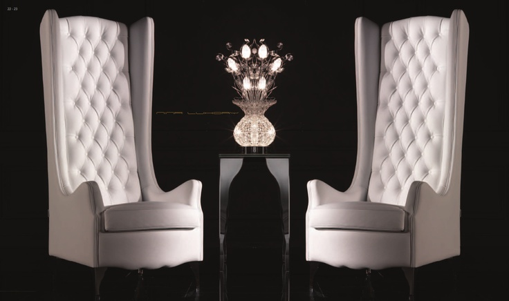 Tufted high back chairs. Gorgeous!