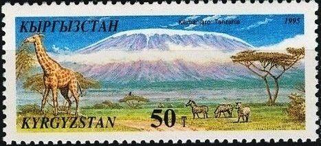 Stamp: Kilimanjaro, Giraffe (Giraffa camelopardalis), Plains Zebra (Kyrgyzstan) (Natural Wonders of the World) Mi:KG 98,Sn:KG 90,Yt:KG 59,Un:KG 98